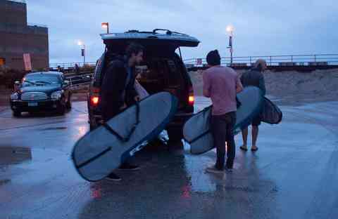 The JL Surf Truck and its surfers on an early morning trip out to Long Beach.