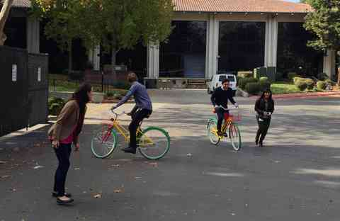 Having fun with those colorful bikes on the Google Campus in Mountain View.